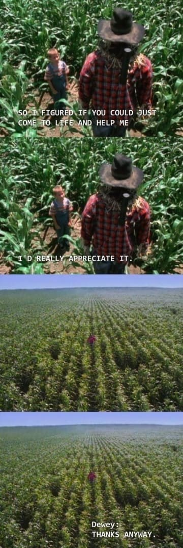 Malcolm In the Middle scene of Dewey having a chat with a scarecrow