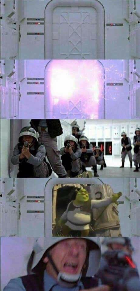 meme with Star Wars opening scene where Darth Vader is replaced by Shrek