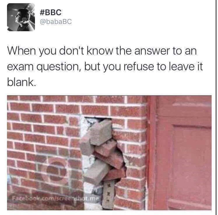 meme about making up an answer in an exam with picture of bricks stuffed into a hole in a wall
