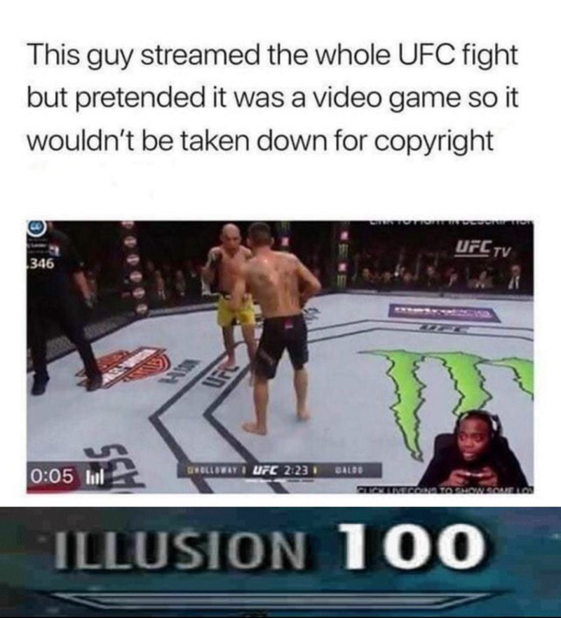 maxed out illusion skill with picture of guy pretending to upload gaming stream