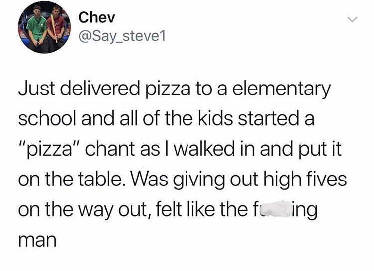 post about feeling awesome after delivering pizza to children