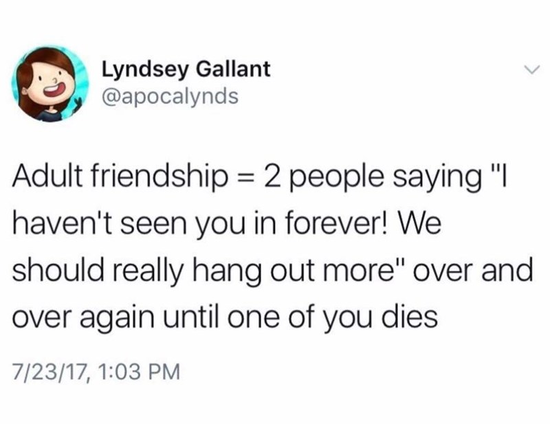 tweet about the definition of adult friendship