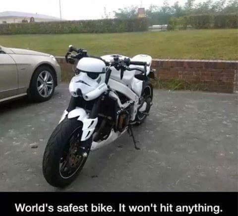 Darth vador motorcycle that won't hit anything