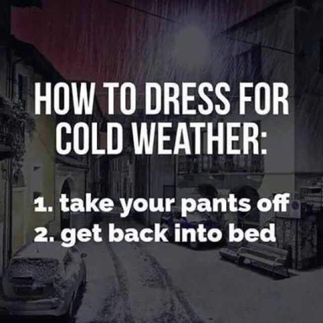 """Text that reads, """"How to dress for cold weather: 1. Take your pants off; 2. Get back into bed"""""""