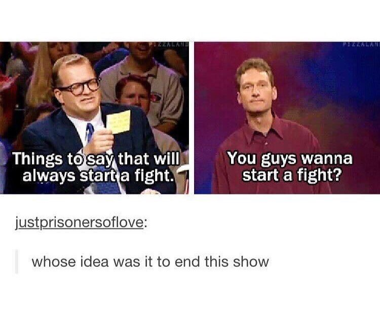 tumblr post of ways to start a fight