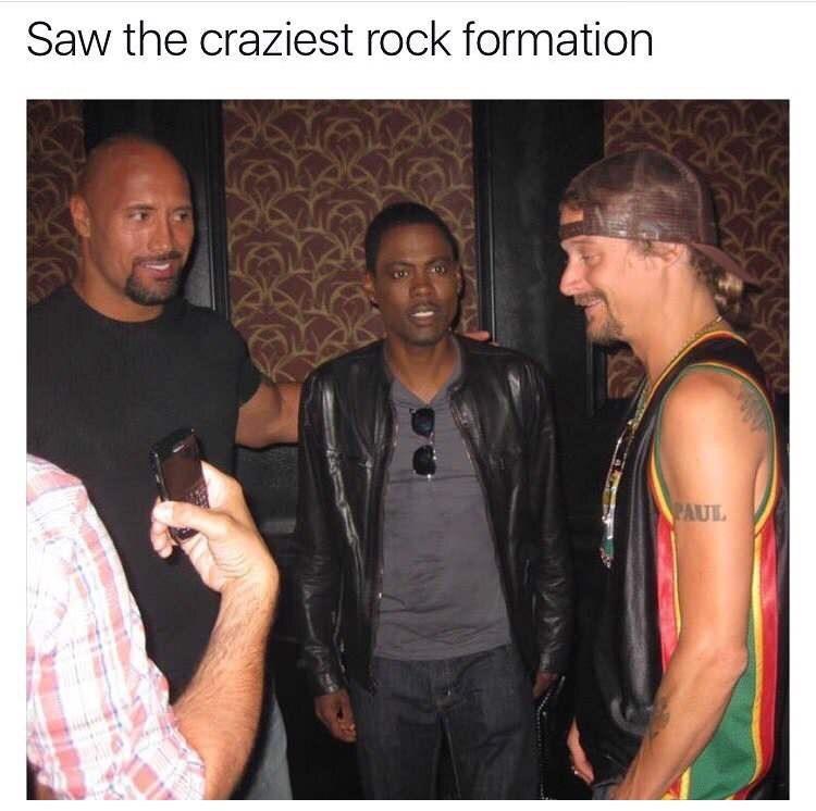 meme about the Dwayne the Rock Johson and Chris Rock