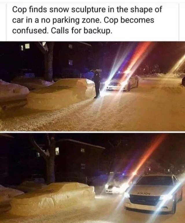 meme of a cop who got confused from a snow sculpture