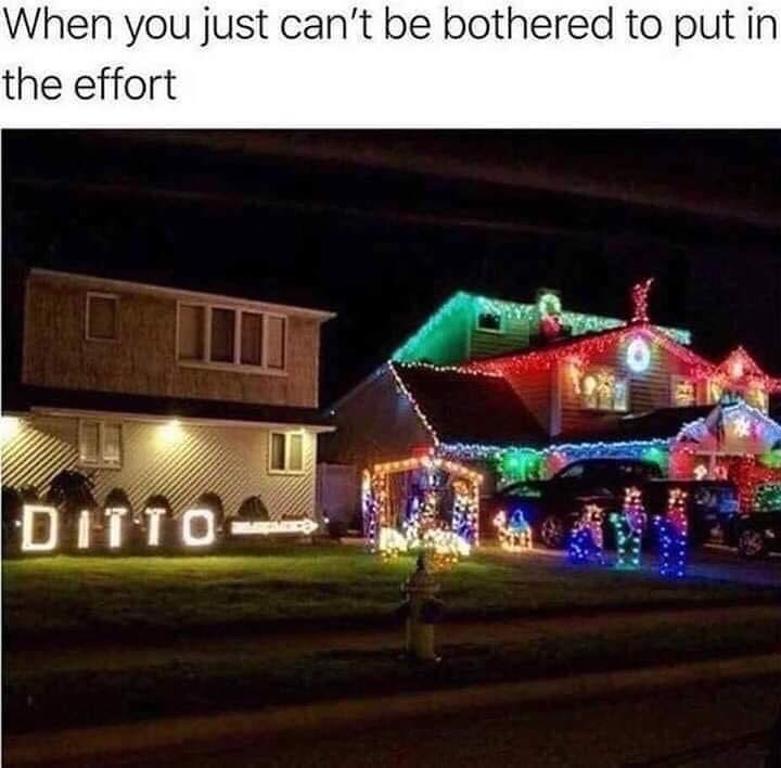 """meme of a home decorated for the holidays and the home next to it with an arrow wrote """"ditto"""""""