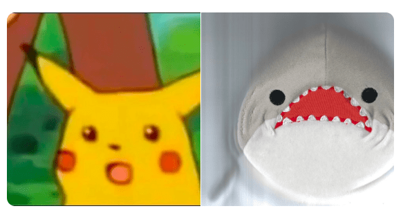 scared pikachu and the scanned shark