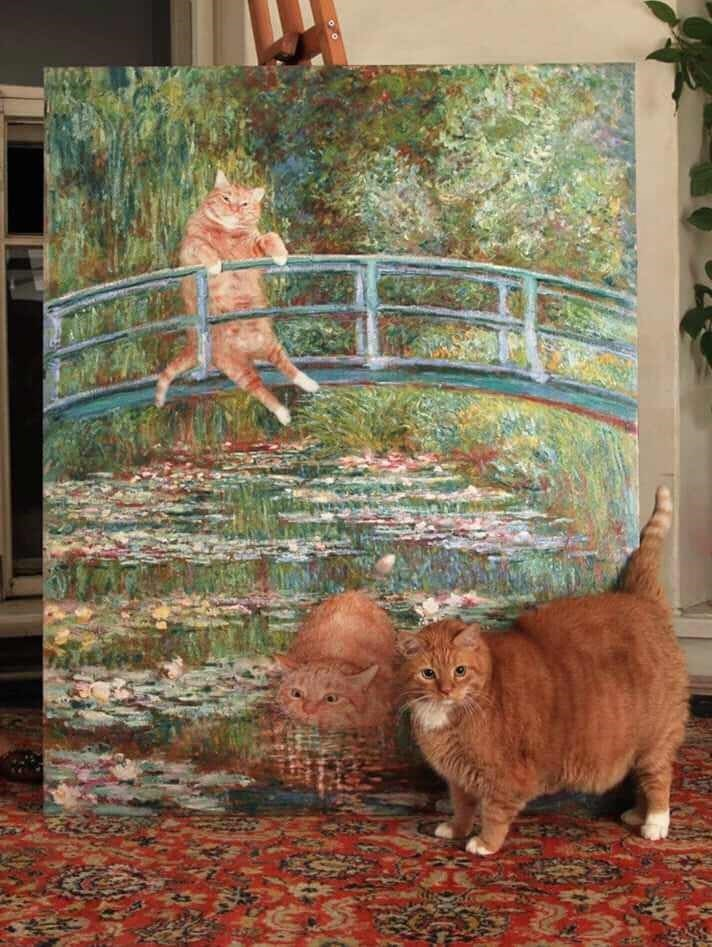 fat cat art cute monet chonky Cats - 9249546240
