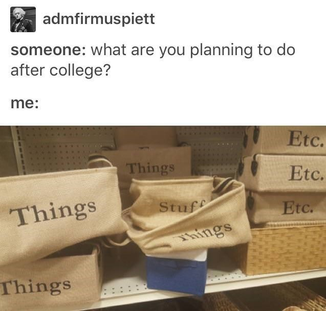 """Caption that reads, """"Someone: what are you planning to do after college? Me: ..."""" above a pic of a bunch of bags that say """"Things,"""" """"stuff"""" and """"etc."""""""