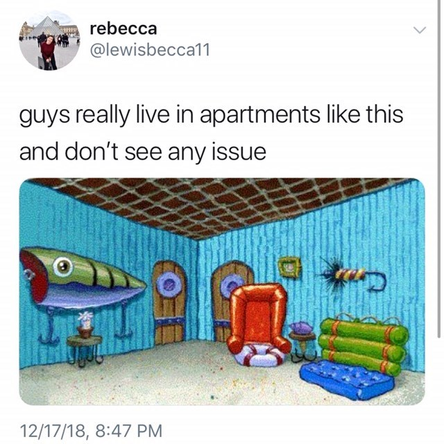 """guys really live in apartments like this"" of spongebobs house"
