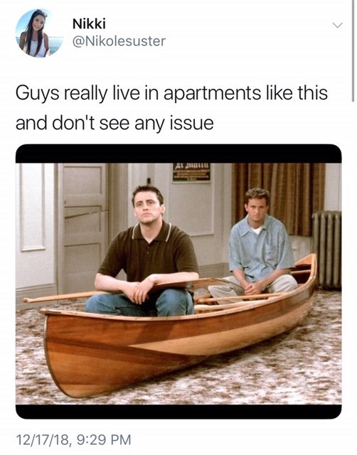 """guys really live in apartments like this"" of chandler and joey sitting in a boat in their living room"