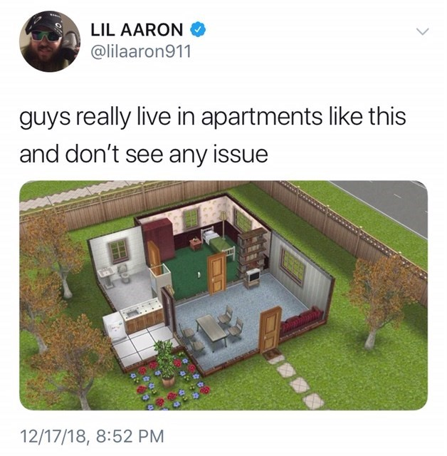 """""""guys really live in apartments like this"""" from the Sims"""