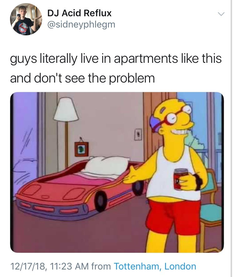 """guys really live in apartments like this"" of the Simpsons race car bed"