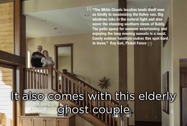 photopshop fail of an elderly couple standing next to a staircase and half their bodies are cut off