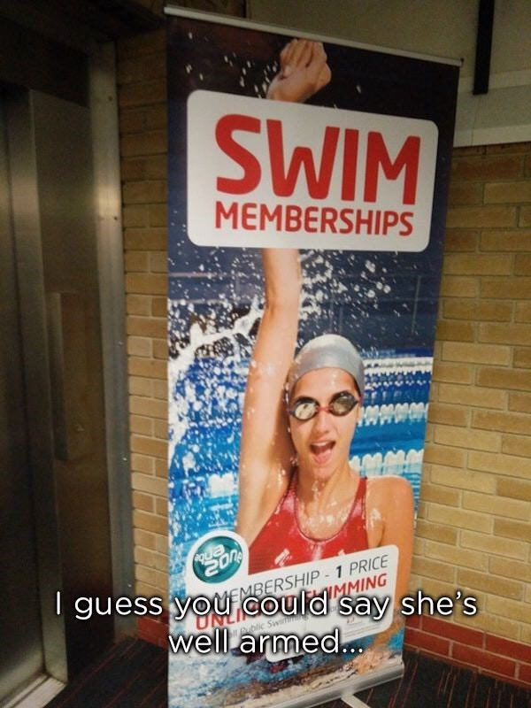 photoshop fail for a swim membership that shows the models hand twisted abnormally