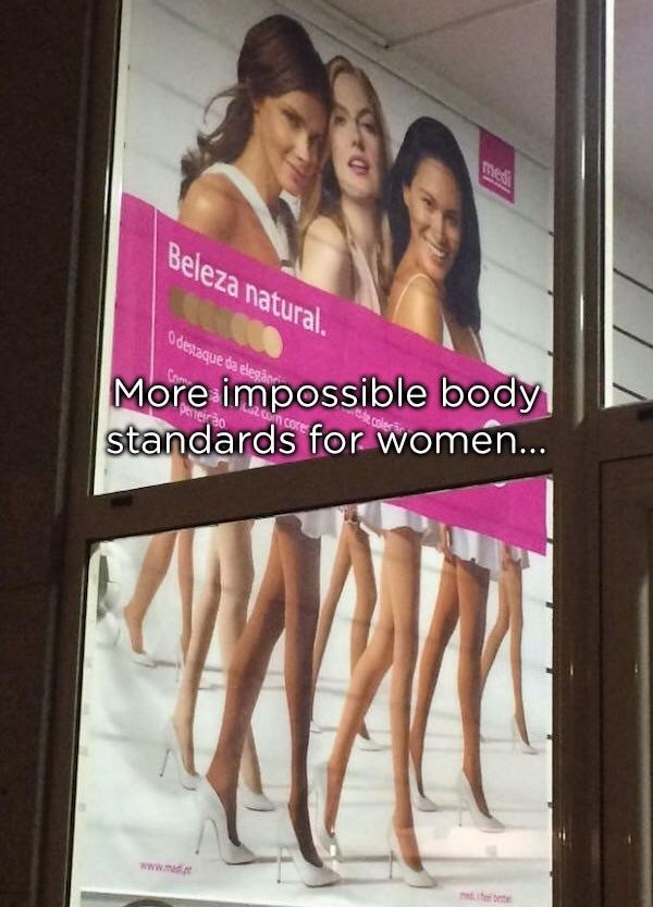 photoshop fail for a women's beauty ad that has the lower half of the body not proportional to the upper body
