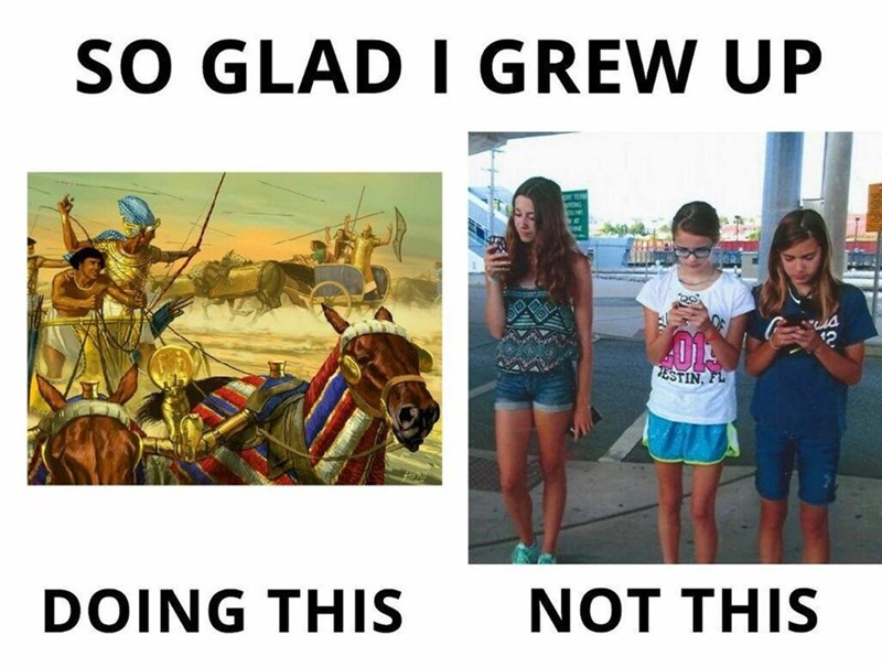meme about the old days when people would battle vs. now everyone has phones