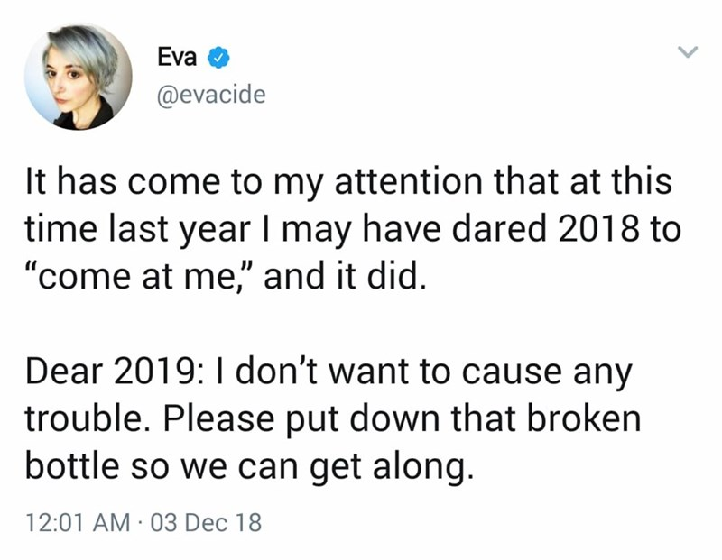 tweet about wanting a nice and peaceful year in 2019 as opposed to 2018