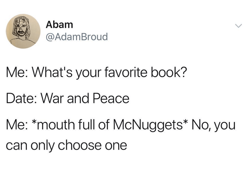 "tweet about not understanding that ""War and Peace"" is a book"