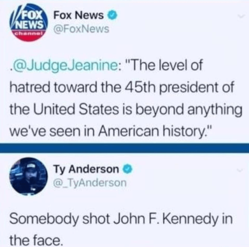 tweet about JFK being the most hated president because he was shot in the face