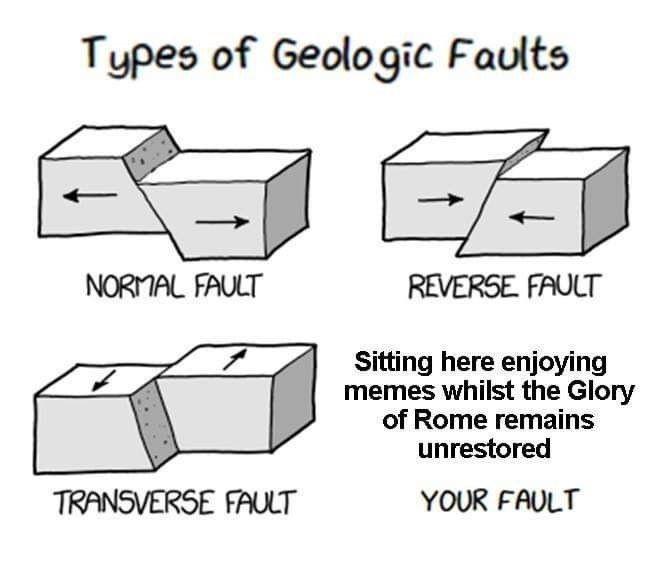 meme about the types of geologic faults