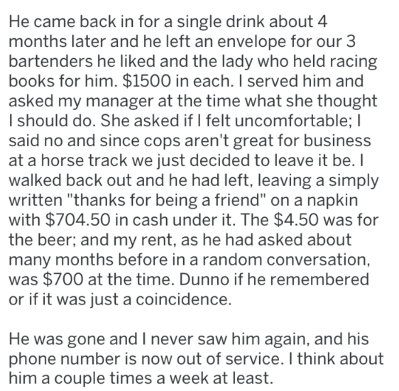 southern charm story about bar regular who returned to the bar after long time being gone and left generous tips for the servers