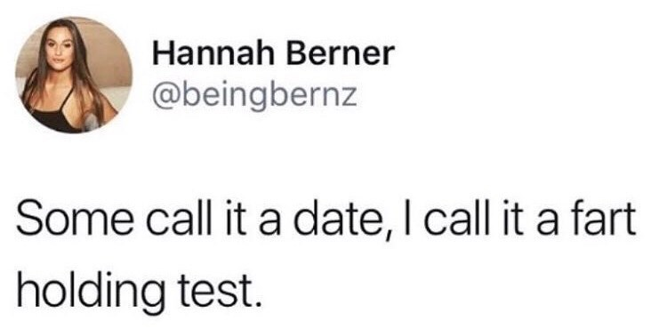 tweet about the correct term of a date - fart holding test