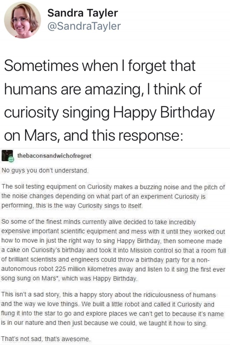 tweet about curiosity singing Happy Birthday on Mars