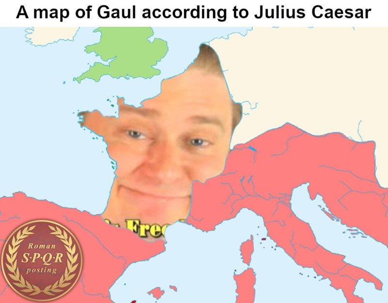 meme highlighting a map of Gaul according Ceaser