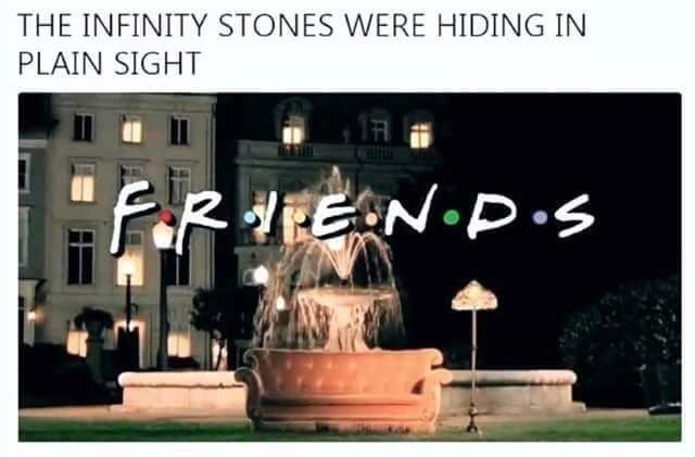 meme about the infinity stone from the avengers movie hiding in the friends logo