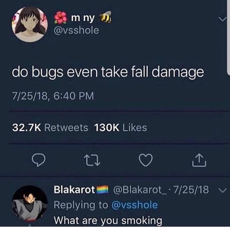 tweet about bugs taking fall damage