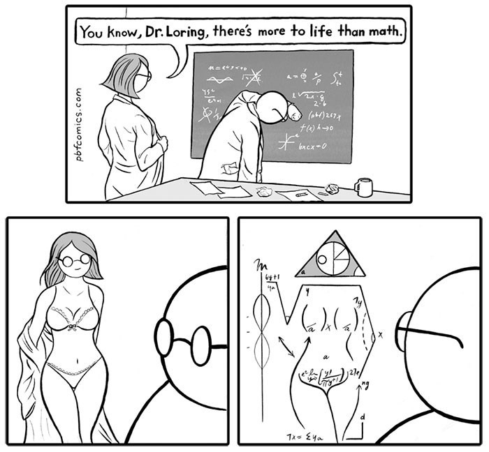 meme of a student undressing herself and telling her professor there's more to life than math