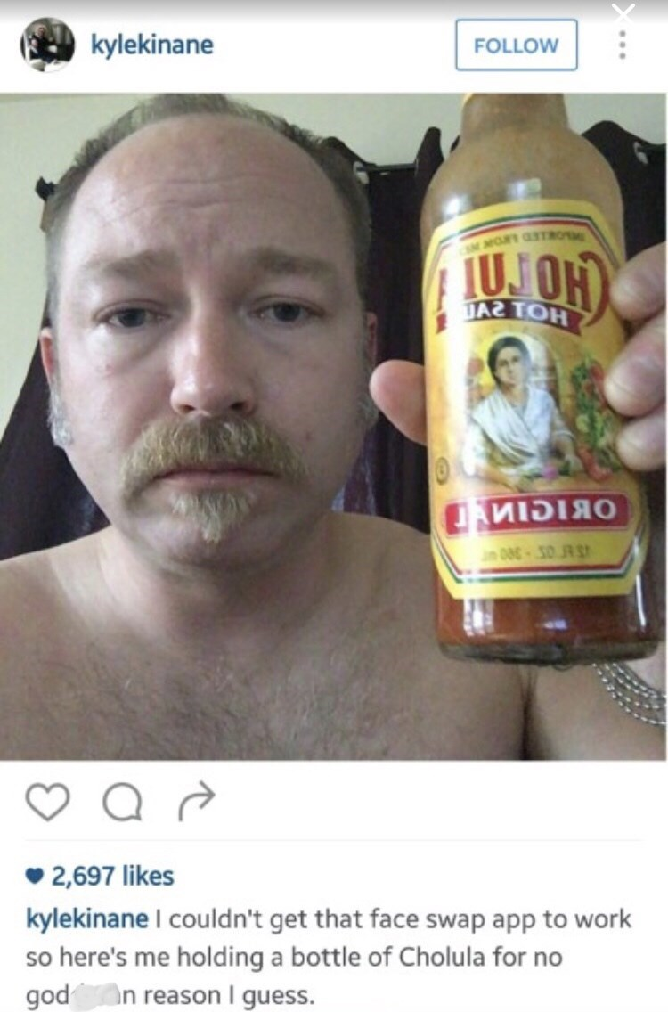 Instagram post of failed attempt at face swapping with a Cholula bottle