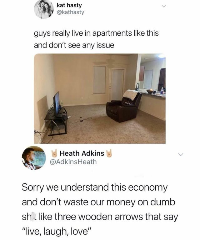 white people twitter meme about guys apartments