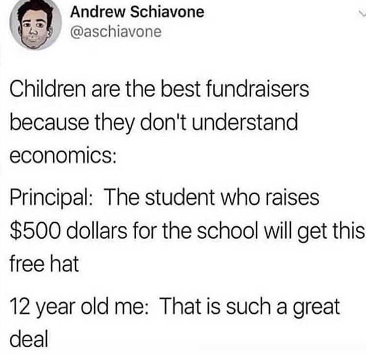 white people twitter meme about children having no perception of money