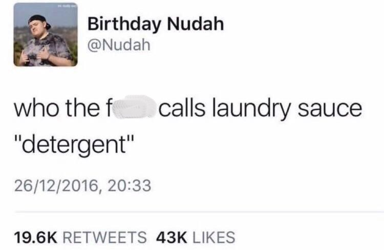 white people twitter meme about laundry sauce