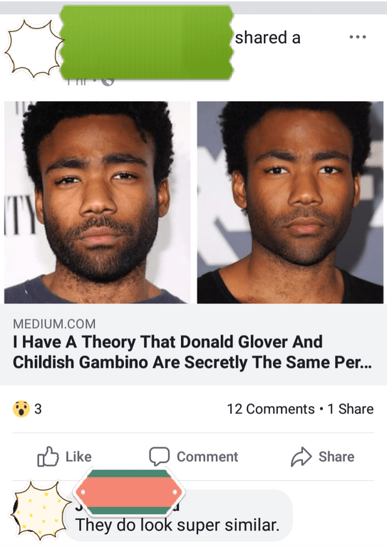 """'Medium' headline that reads, """"I have a theory that Donald Glover and Childish Gambino are secretly the same person;"""" someone comments below, """"They do look super similar"""""""