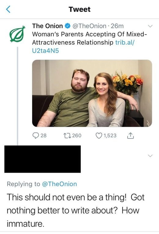 tweet by person who ate the onion thinking mixed attractiveness relationships are a thing