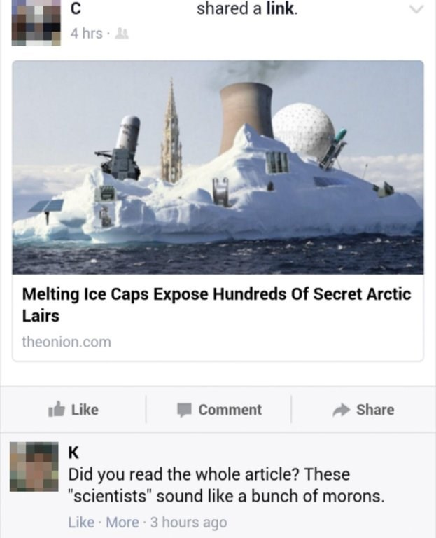 Facebook reply by person who ate the onion in an article about arctic laboratories