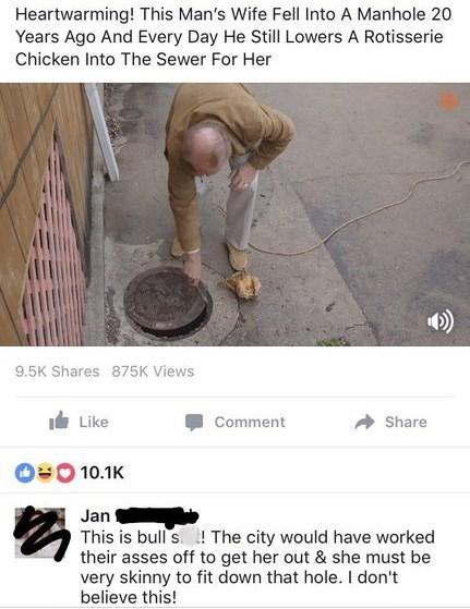 Facebook comment by person who ate the onion in article about woman trapped in sewer