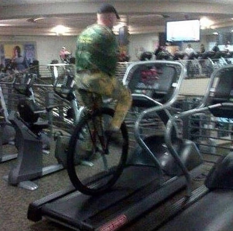 cursed image - Exercise machine with a unicycle