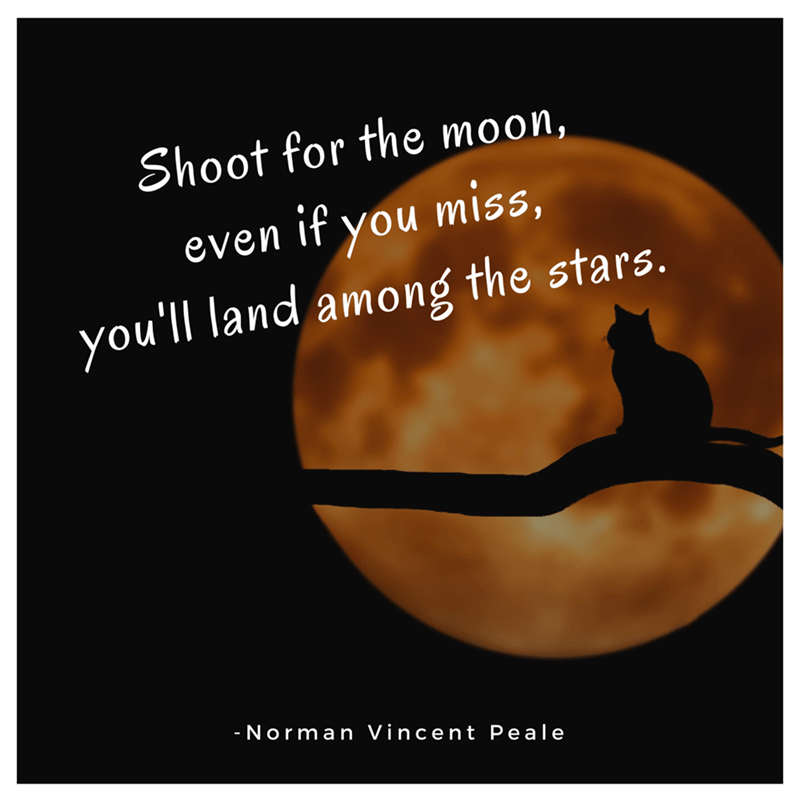 Text - Shoot for the moon, even if you miss, you'll land among the stars. |- Norman Vincent Peale