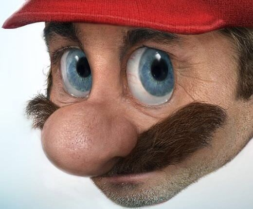 cursed image of a realistic Mario