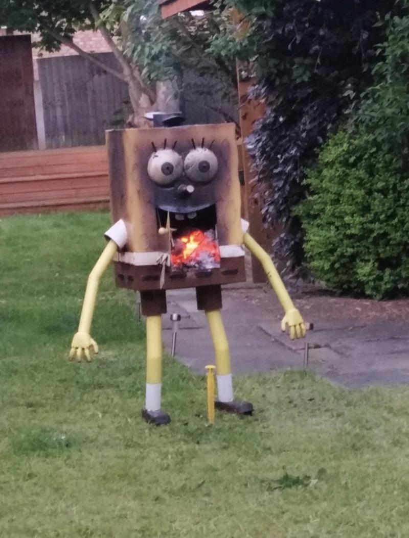 cursed image of a burned statue of Spongebob