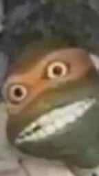 cursed image of Michelangelo the ninja turtle smiling creepily