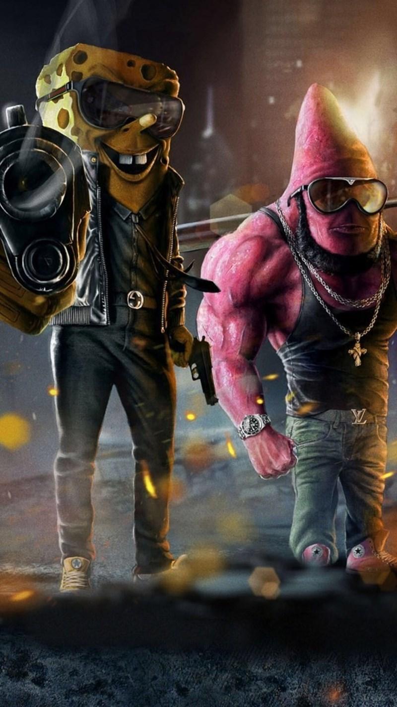 cursed image of realistic Spongebob and Patrick dressed as gang members