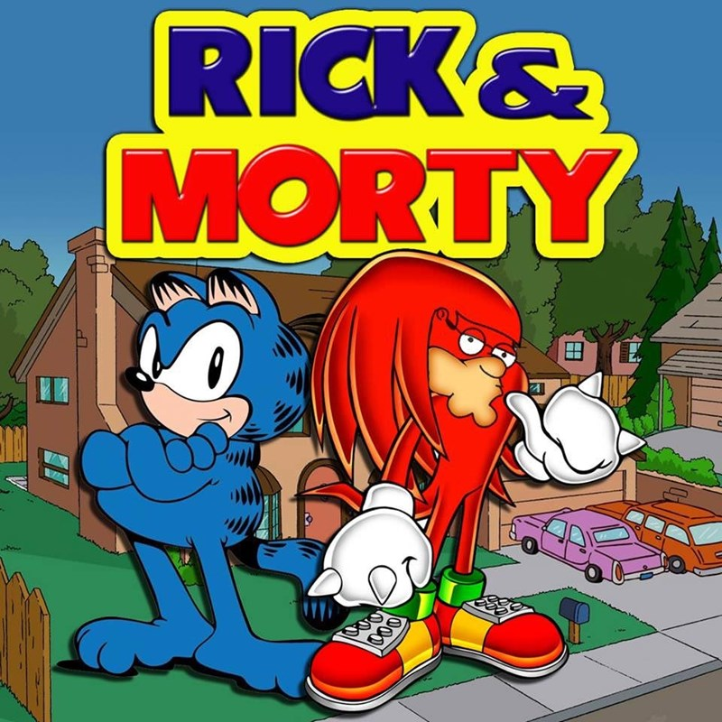 cursed image of Garfield as Sonic the Hedgehog titled as Rick and Morty