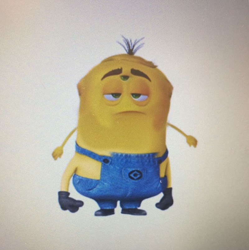 cursed image of a minion with a swiped face